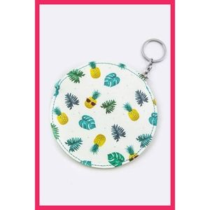 Cute Pineapple Print Zipper Coin Keychain Wallet
